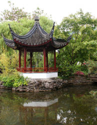Chinese Garden Pagoda by GreenEyezz-stock