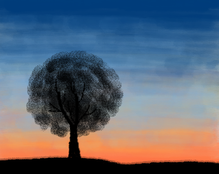 Tree Silhouette At Sunset By LaurieGoesRAWR