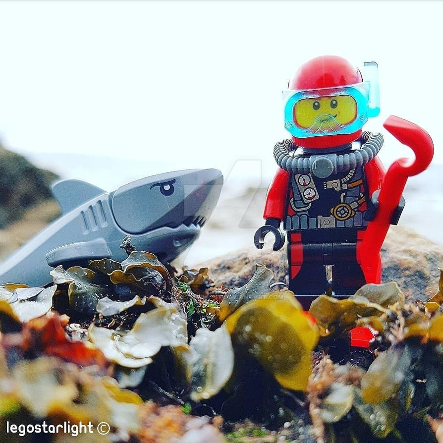 Scuba diver and his shark  by Legostarlight