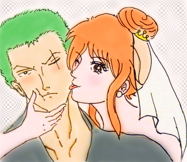 Real men don't laugh in wedding photos ( Zoro Nami by BelleLoveZoro