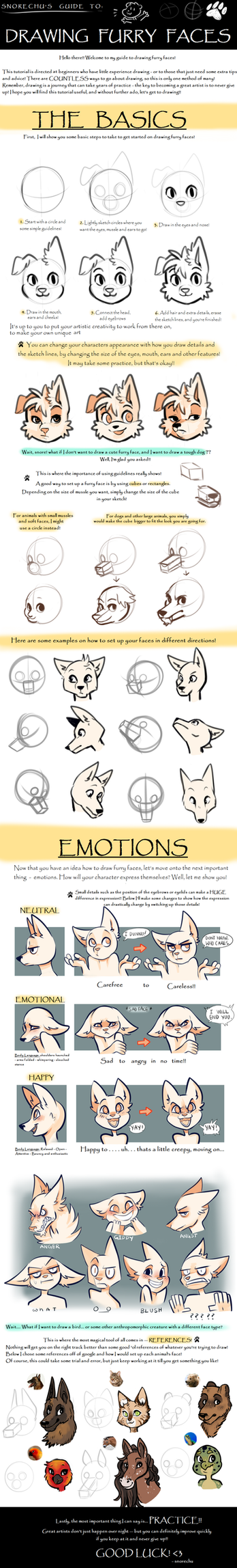 Guide to Drawing Furry Faces 2.0 by Snorechu