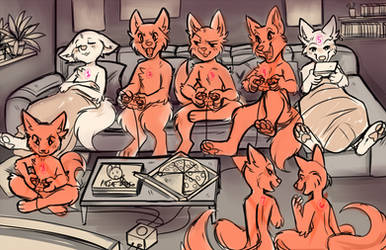 CLOSED ) YCH - Video Game Night by Snorechu