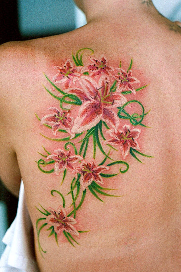 Lillies On Shoulder Blade - shoulder tattoo