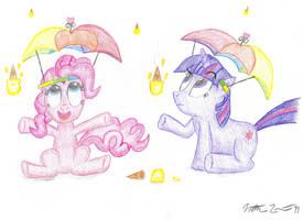 Pinkie Pie and Twilight in the Ice Cream Rain