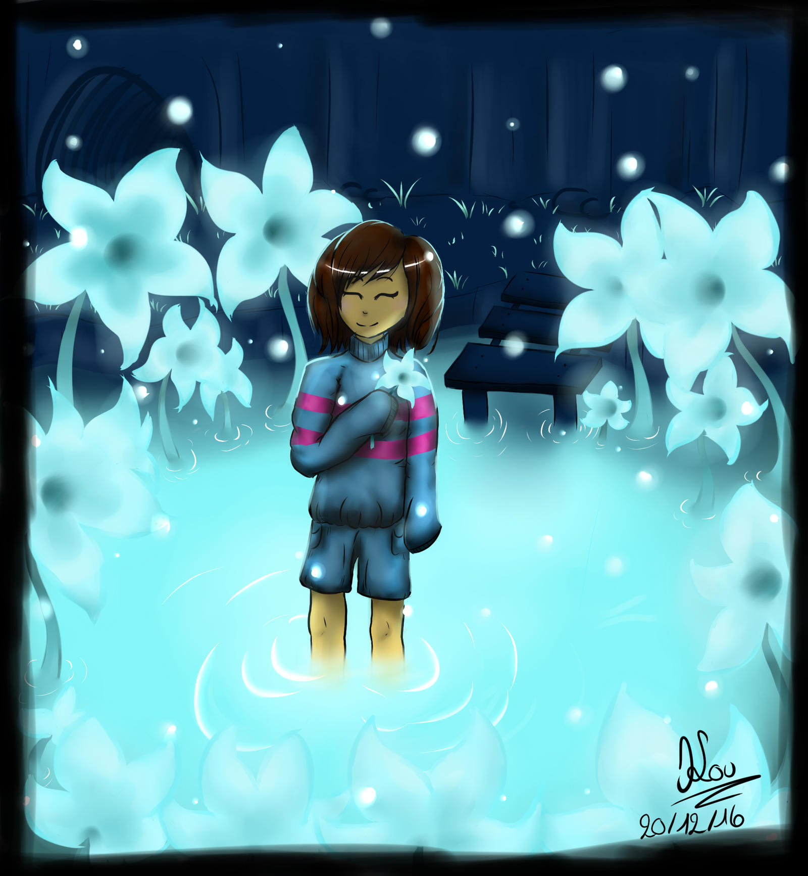undertale frisk in waterfall - photo #13
