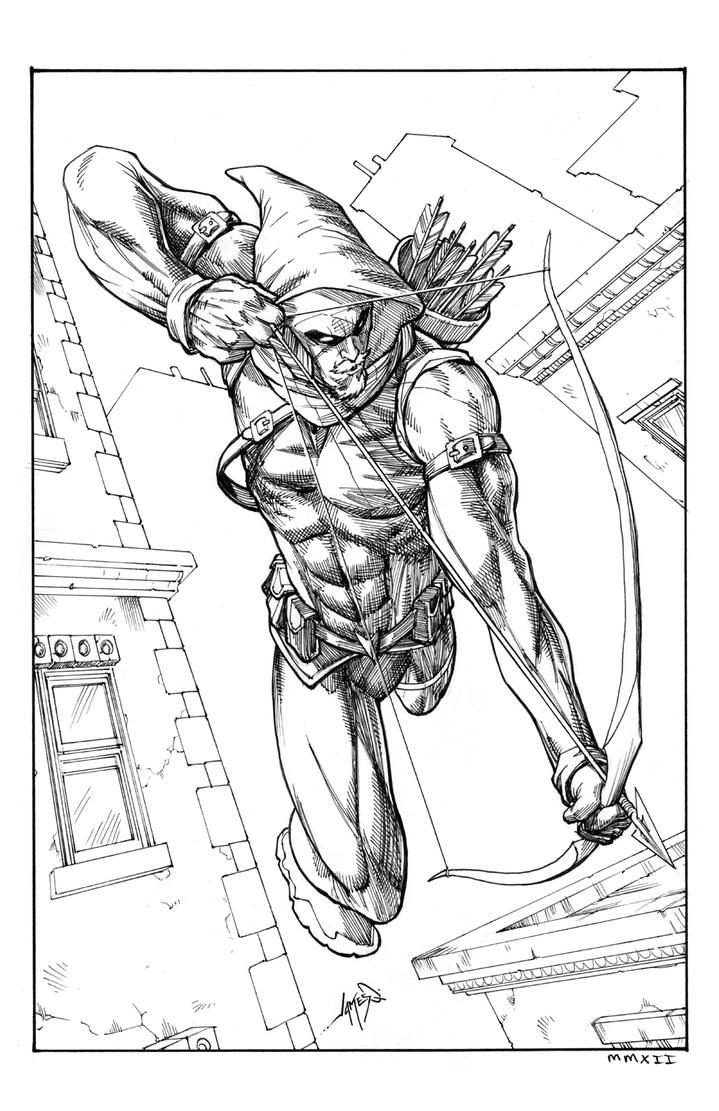 Green Arrow Inks By Jamesq On Deviantart Green Arrow Coloring Pages