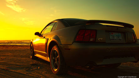 Beach Sunrise Mustang by cbrewer85