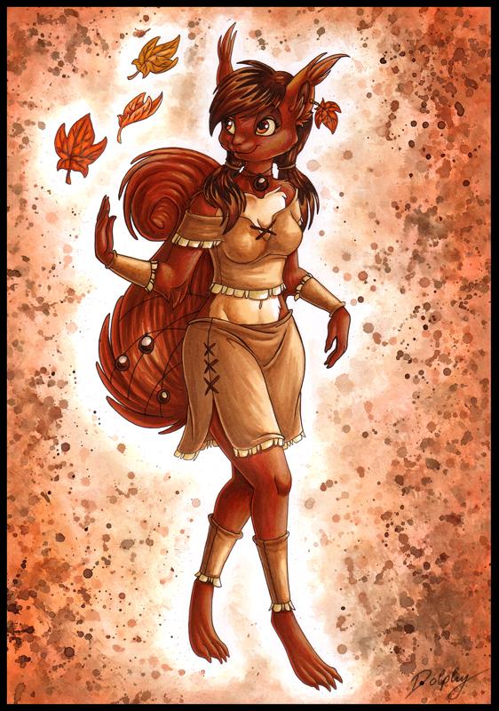 Autumn Squirrel by DolphyDolphiana