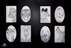 Greyscale Felines and Canines by DolphyDolphiana