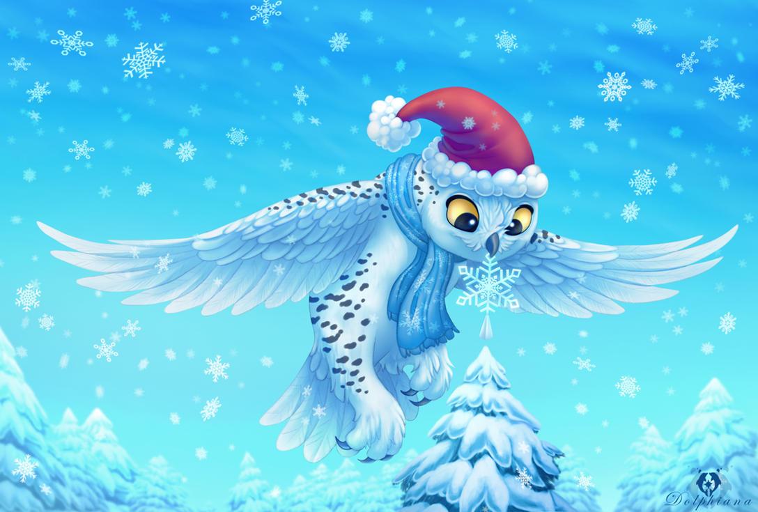 christmas owl by dolphydolphiana on deviantart - Owl Christmas