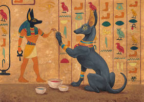 Painting Anubis by DolphyDolphiana