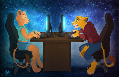 Simba and Nala - Gamers by DolphyDolphiana