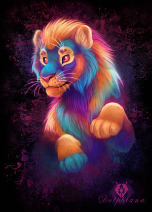 Neon Lion by DolphyDolphiana
