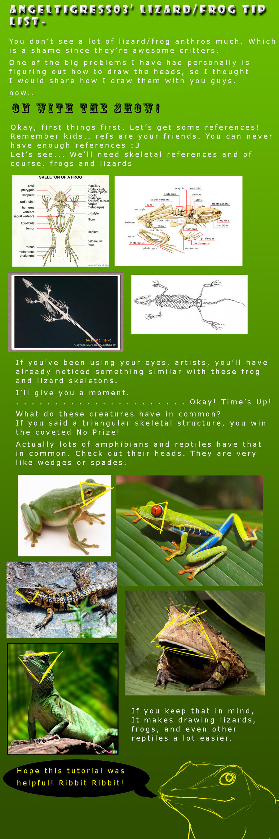 Frog and Lizard head tips by AngelTigress03