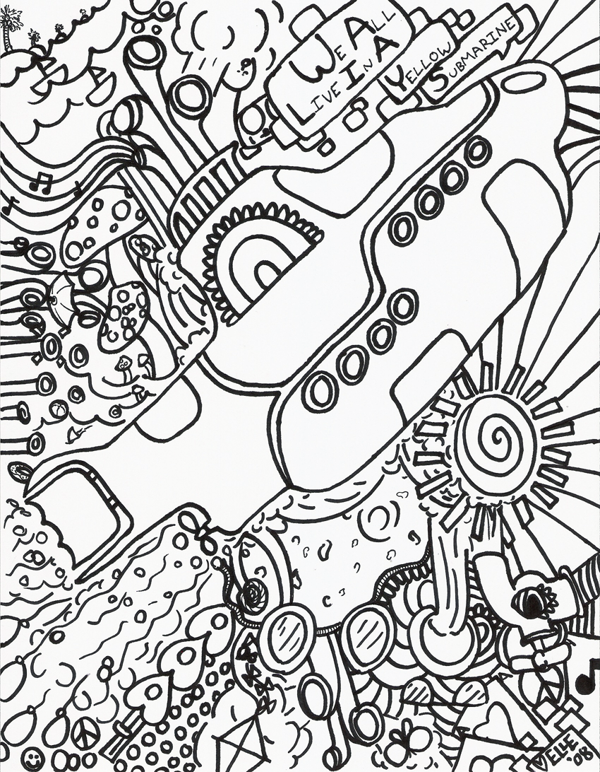 yellow submarine coloring page - yellow submarine lines by kindernacht on deviantart