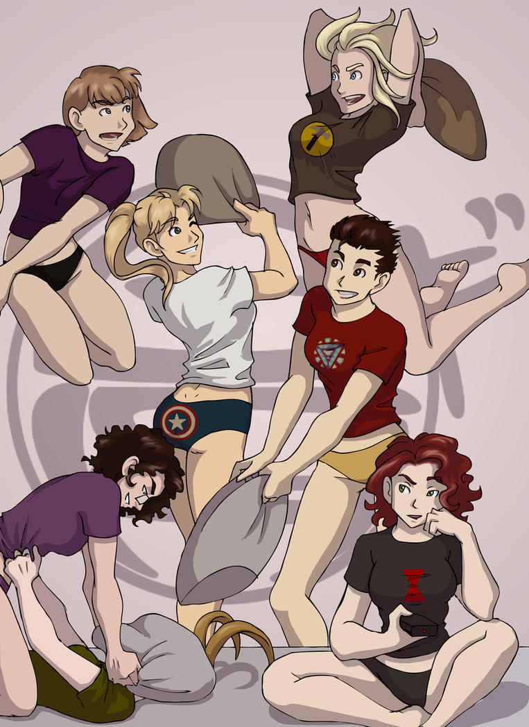 042114 Avengers Pillow Fight by GillyPerkyGoth