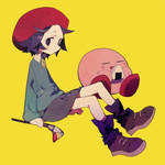 The pink blob and the big forehead artist