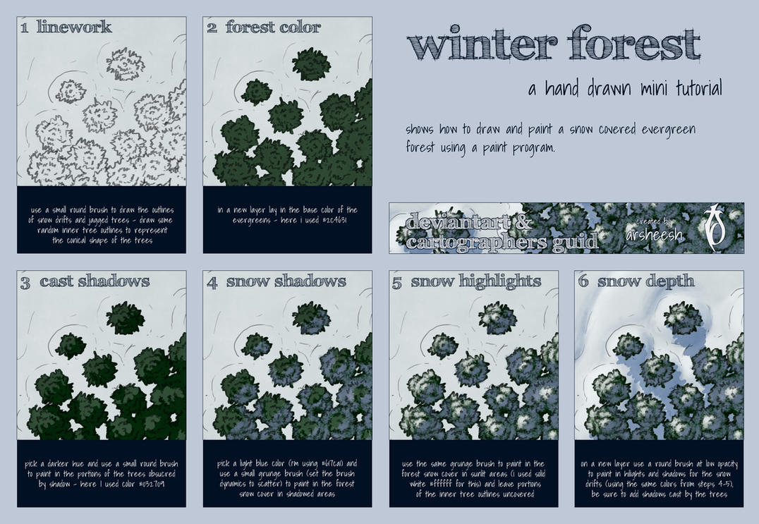 Winter Forest Mini Tutorial by arsheesh