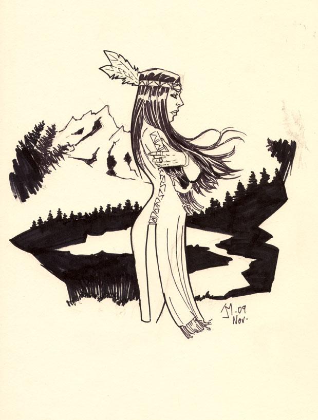 American Indian Girl by artistjoshmills