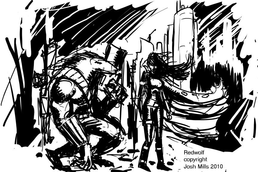 Redwolf concept art by artistjoshmills