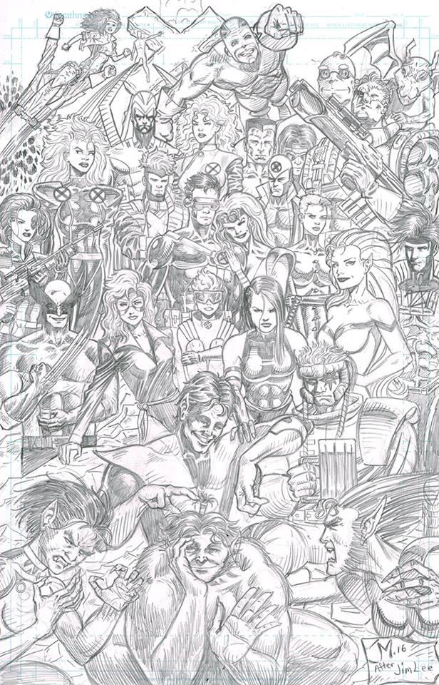 X-Men after Jim Lee's poster by artistjoshmills