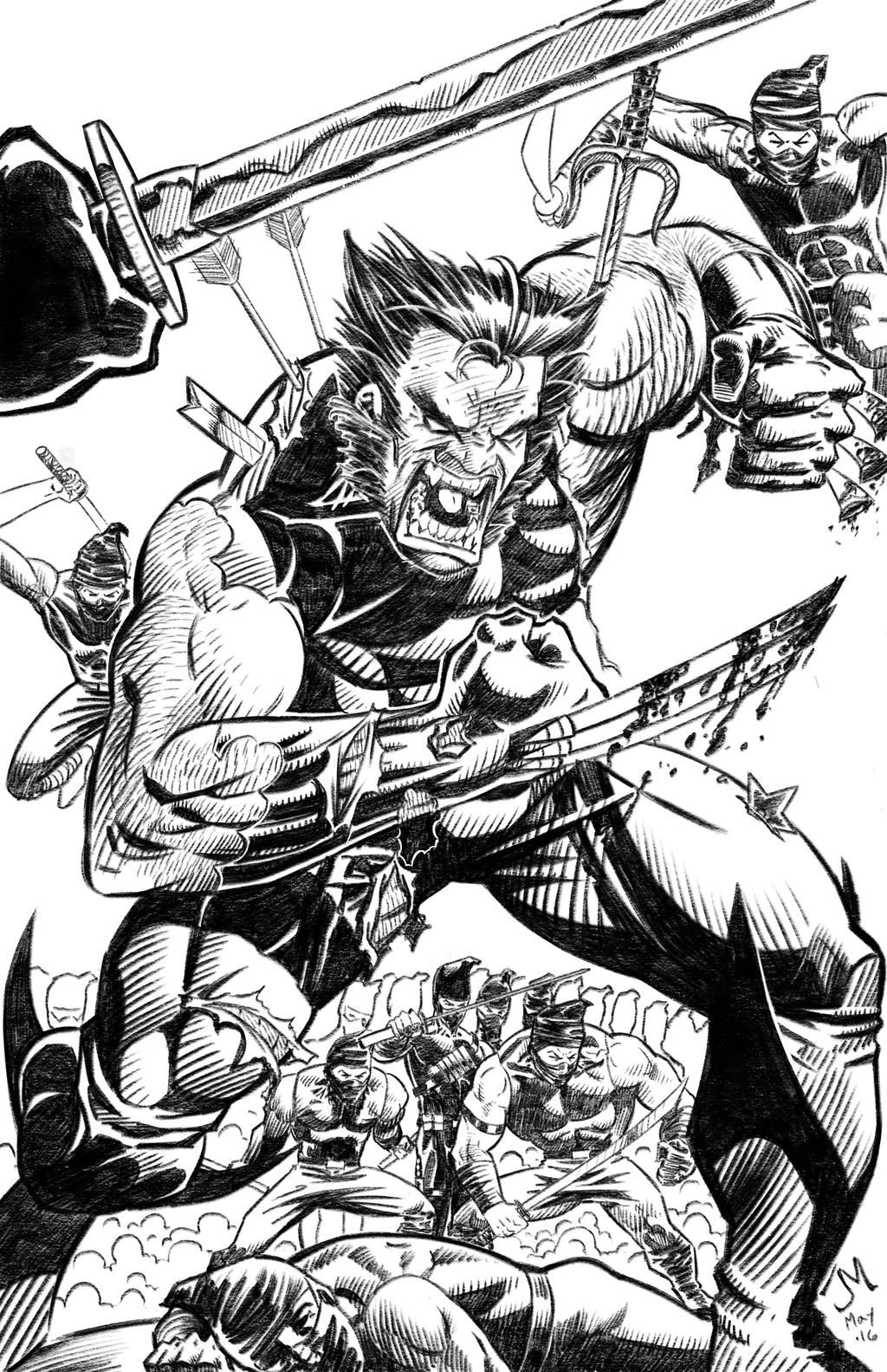 Wolverine and Ninjas by artistjoshmills