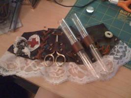 Steampunk Leather Bracer by veririaa