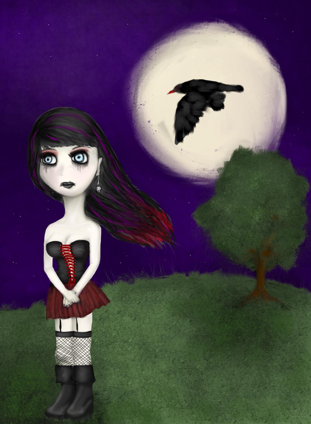Ebony Dark'ness Dementia Raven Way by el-Jimmeister