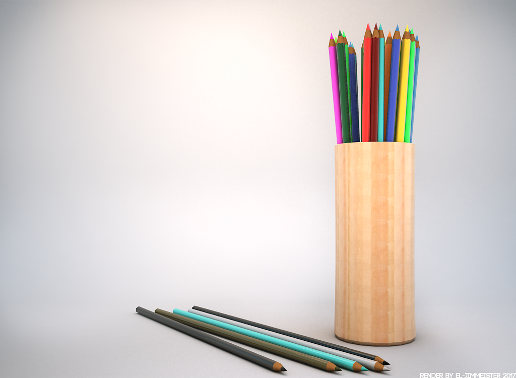r/Daily3D 1324 - Colored Pencils by el-Jimmeister