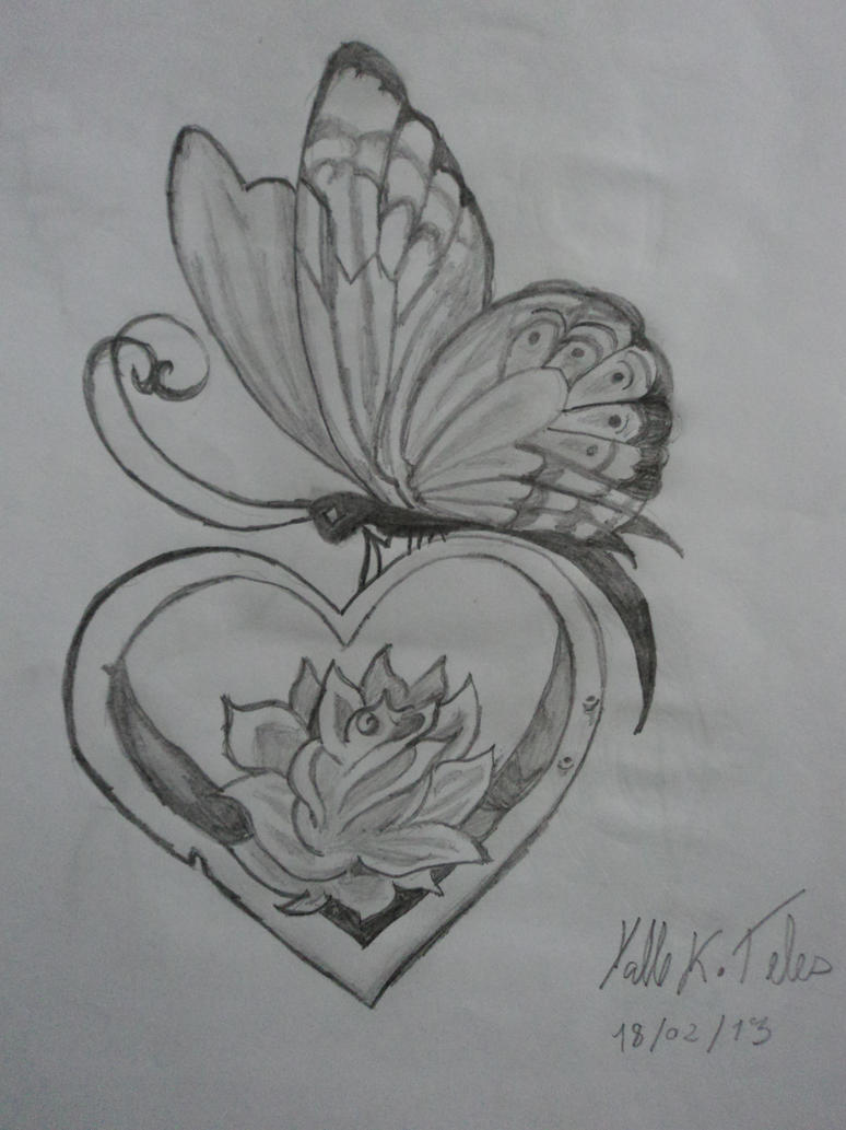 Butterfly and rose drawing - photo#24