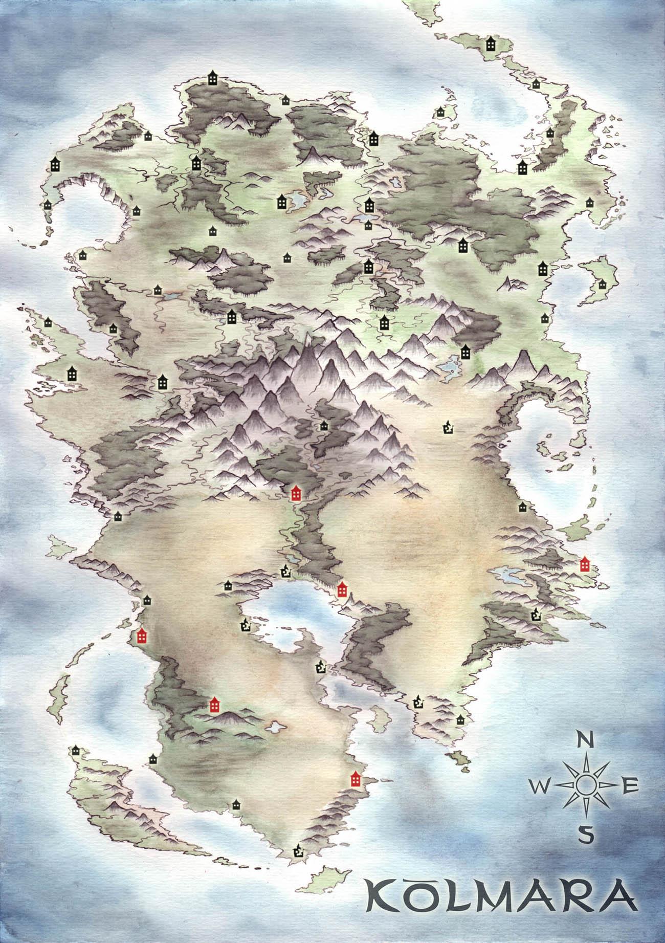 Kolmara, fantasy map by LingonB