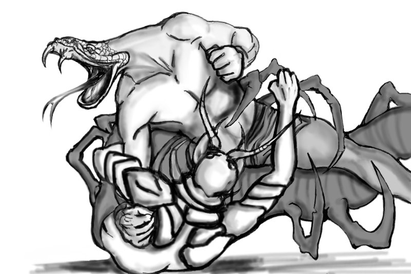 Snake man vs. Centipede man by dead01