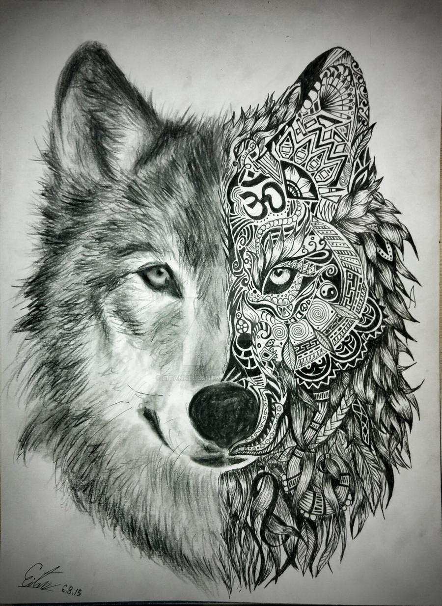 Black Wolf Painting