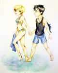 Haruka and Seiya Beach time!!