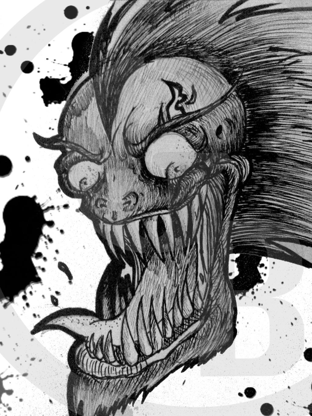 Evil Creature Head with ink blots by brandongroce123 on ...