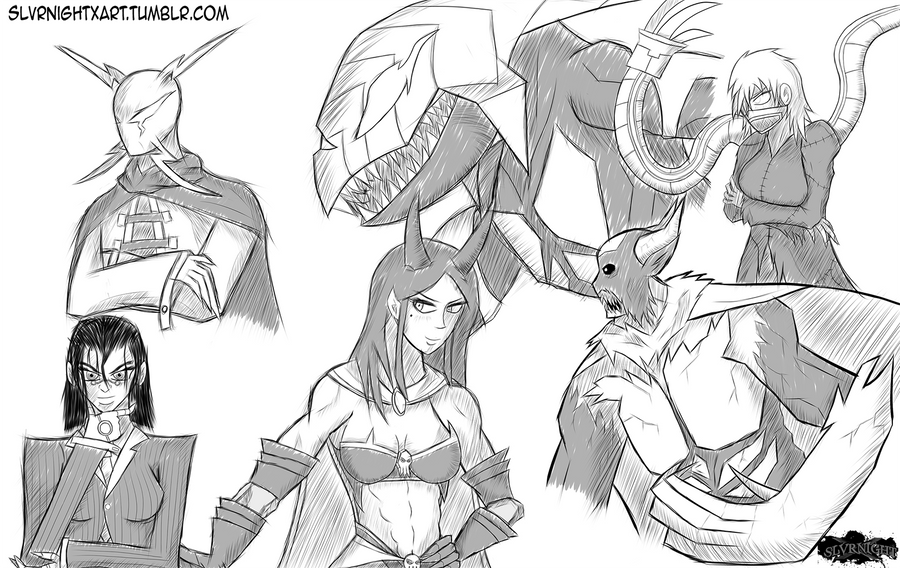 Antagonist Sketch Dump by SlvrNightX