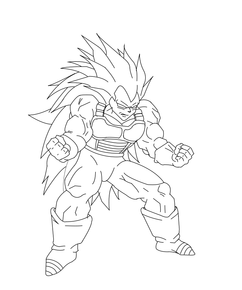 Coloriage Sangoku Super Sayen 3. Dragon Ball Z Son Goku Shouted ...
