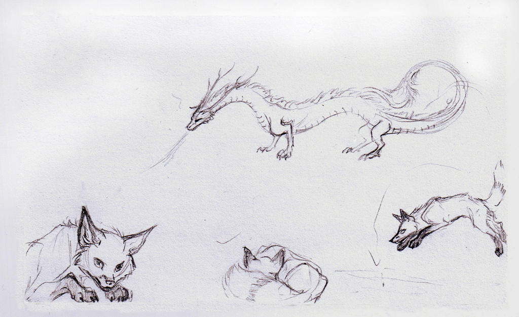 Foxes and Dragons - random sketches by Jianre-M