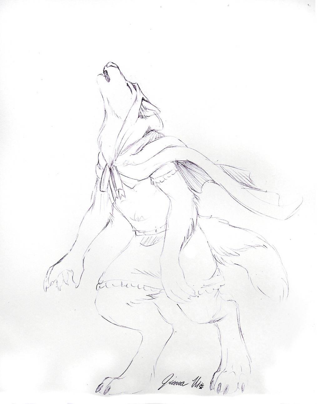 Sketch Request - Red Riding Werewolf by Jianre-M