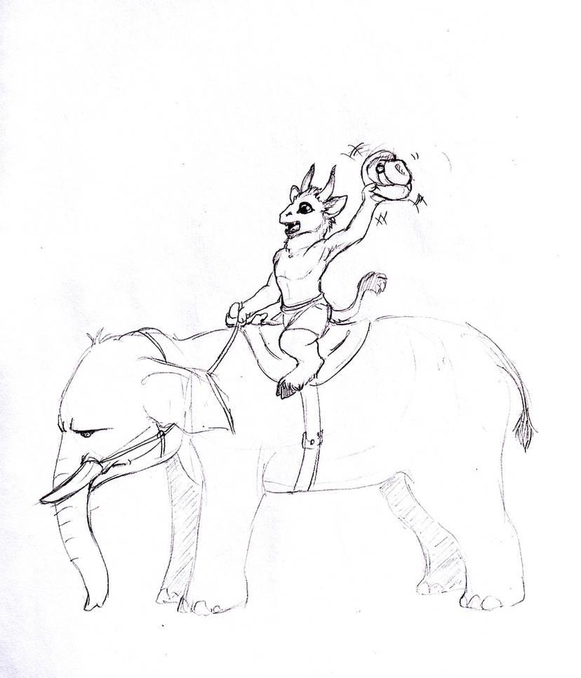 Sketch Request - Elephant Cowboy by Jianre-M