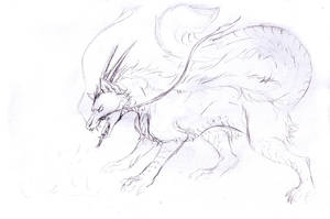 Sketch Request - Dragon Wolf by Jianre-M