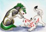 Amaterasu and Wolf Link by Jianre-M