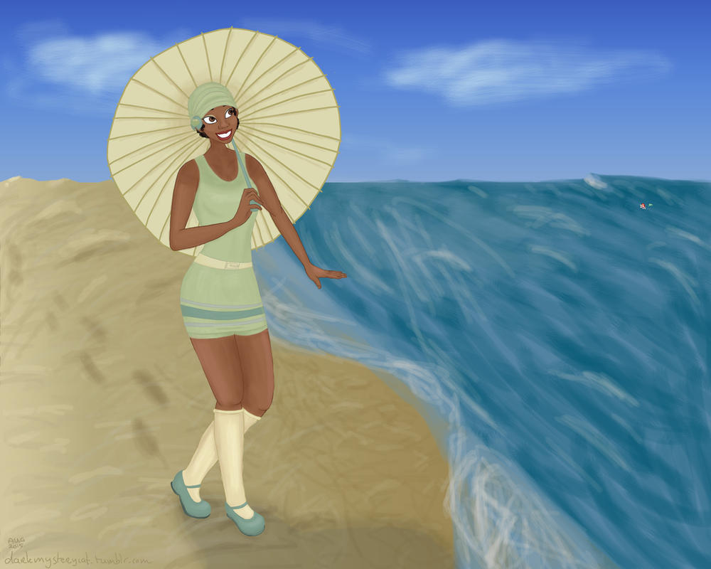 Tiana's day on the beach by DarkMysteryCat