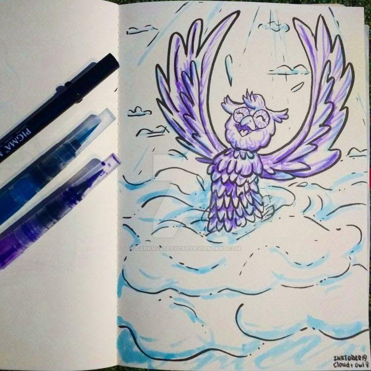 Inktober 19: Cloud + Owl (f) by DarkMysteryCat