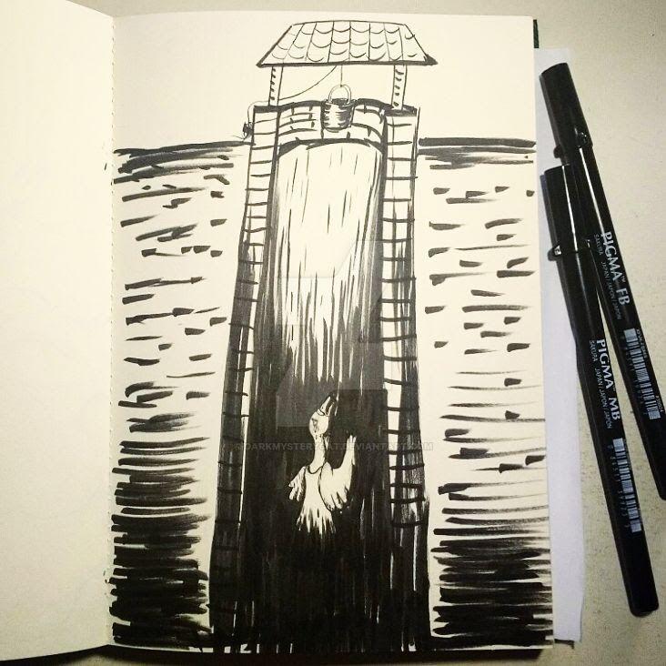 Inktober 20: Deep + Swan (f) by DarkMysteryCat
