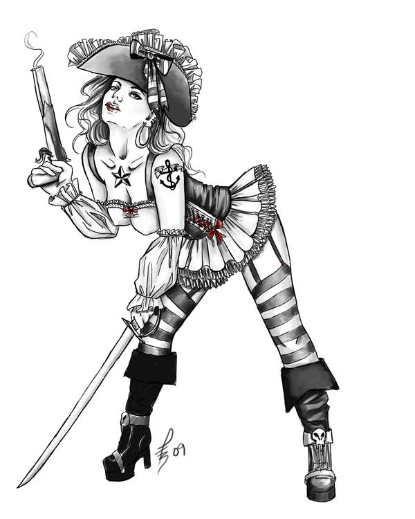 Pirate girl pin up drawing - photo#1