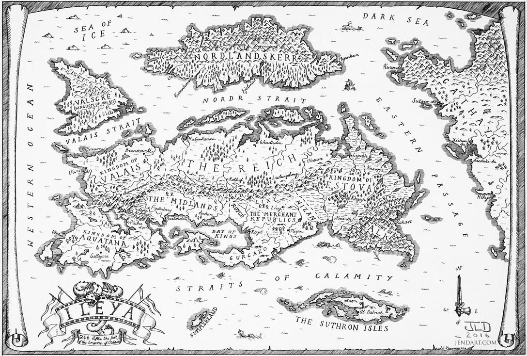 Hand Drawn Fantasy World Map - Ileya by waronmars on DeviantArt