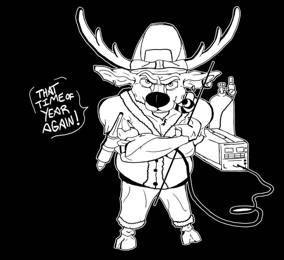 Rudolph the Badass Welding Reindeer by Flurious