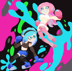 Inkling Dif vs Octoling Nashiko .:Gift:. by Netto-Painter