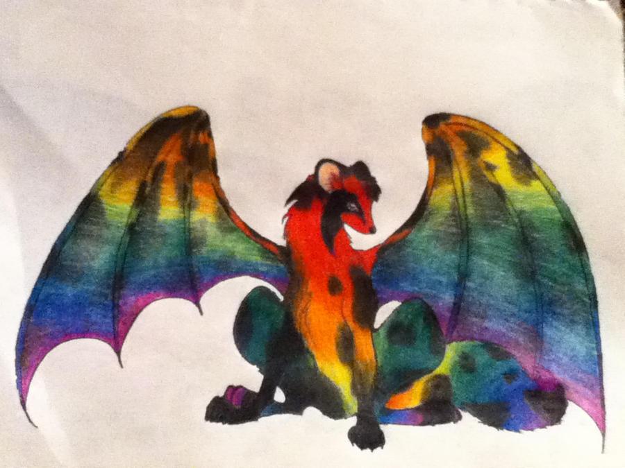 Rainbow winged wolf by koolcatloveanimals